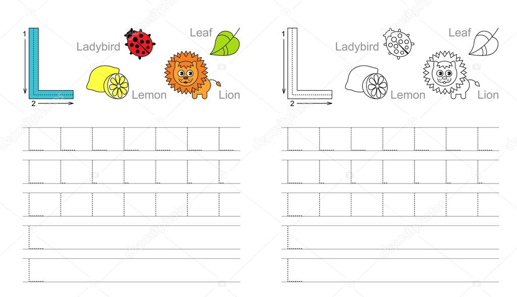 Tracing worksheet for letter L — Stock Vector © Anna_Mikhailova ...