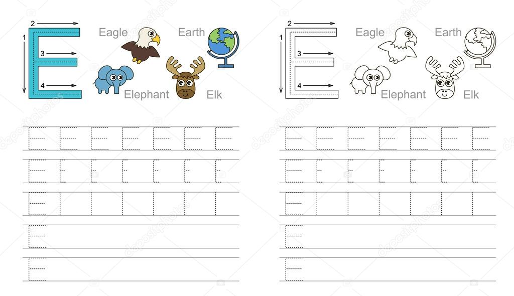 Arbeitsblatt für den Buchstaben E Ablaufverfolgung — Stockvektor ...