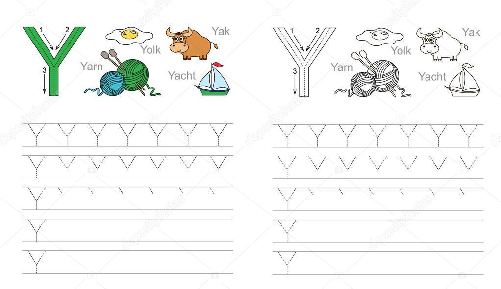 Trazar la hoja de cálculo para la letra Y — Vector de stock ...