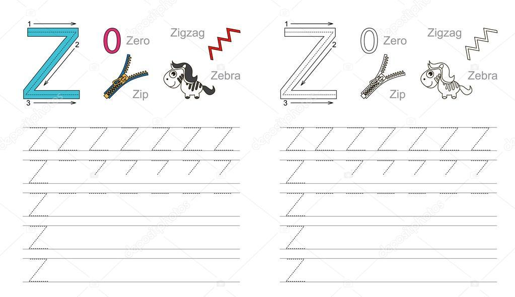 Arbeitsblatt für den Buchstaben Z Ablaufverfolgung — Stockvektor ...