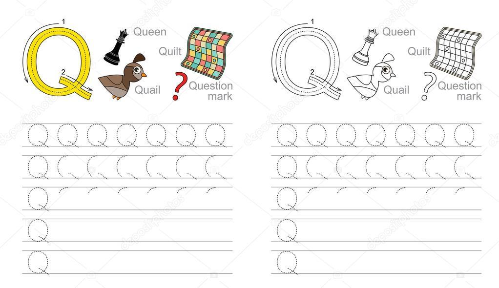 Arbeitsblatt für den Buchstaben Q Ablaufverfolgung — Stockvektor ...
