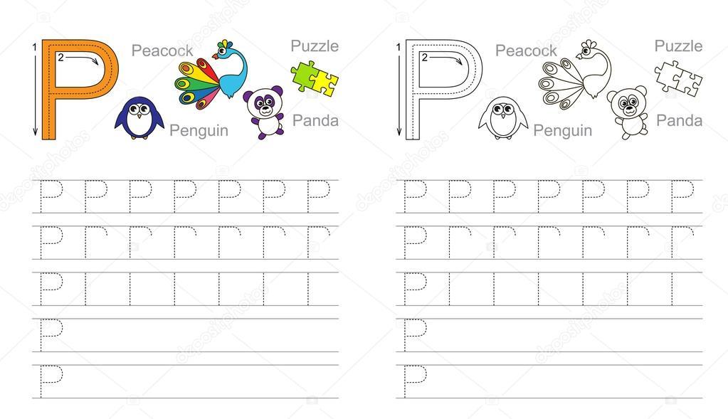 Arbeitsblatt für den Buchstaben P Ablaufverfolgung — Stockvektor ...