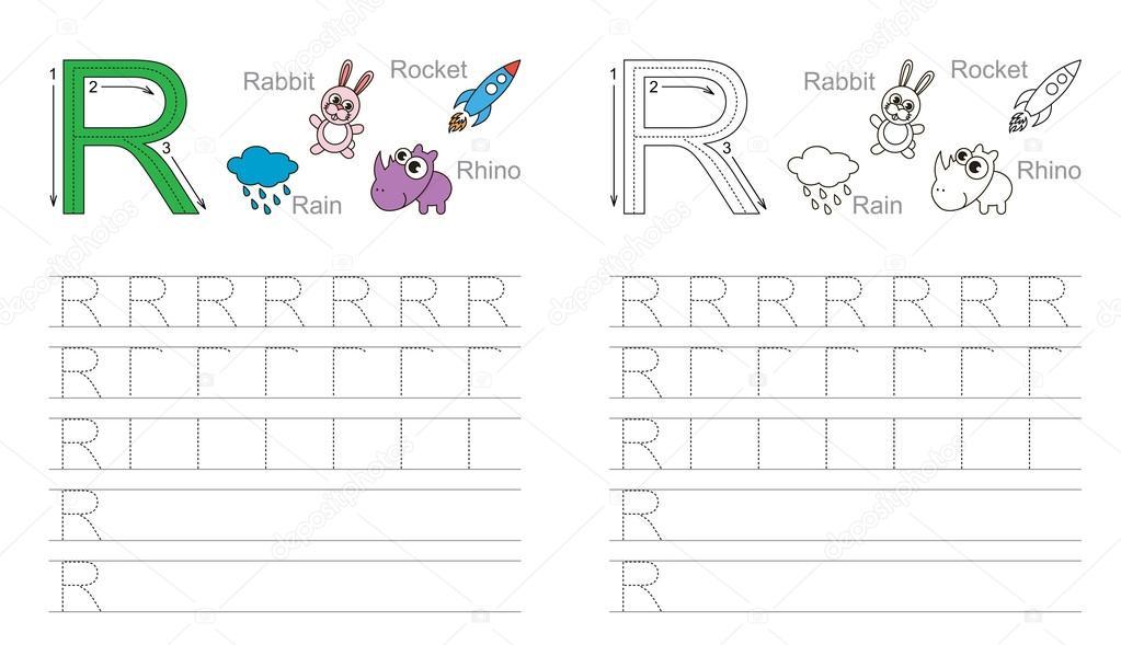 Arbeitsblatt für den Buchstaben R Ablaufverfolgung — Stockvektor ...