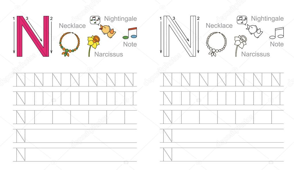 Tracing Worksheet For Letter N Stock Vector Annamikhailova