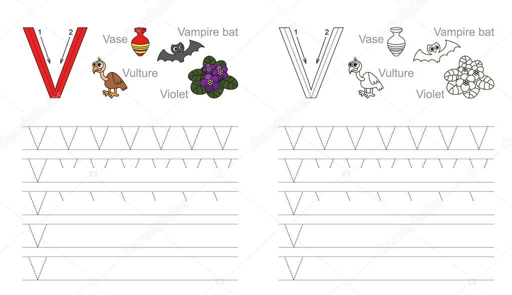 Arbeitsblatt für den Buchstaben V Ablaufverfolgung — Stockvektor ...