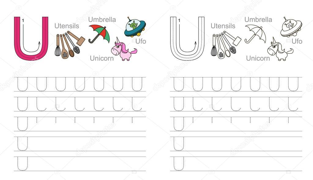 Arbeitsblatt für den Buchstaben U Ablaufverfolgung — Stockvektor ...