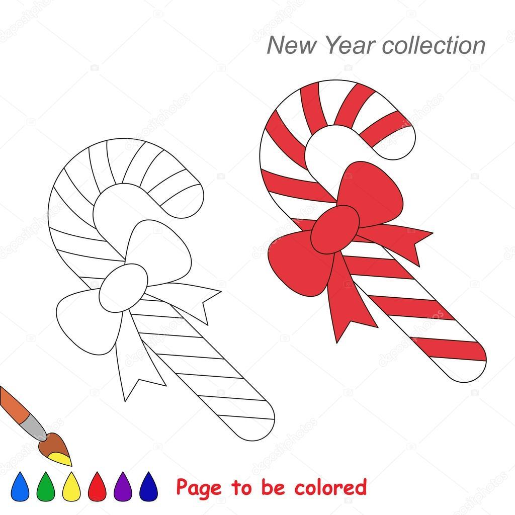 Cartoon Di Natale Caramella Canna Vettoriale Da Colorare