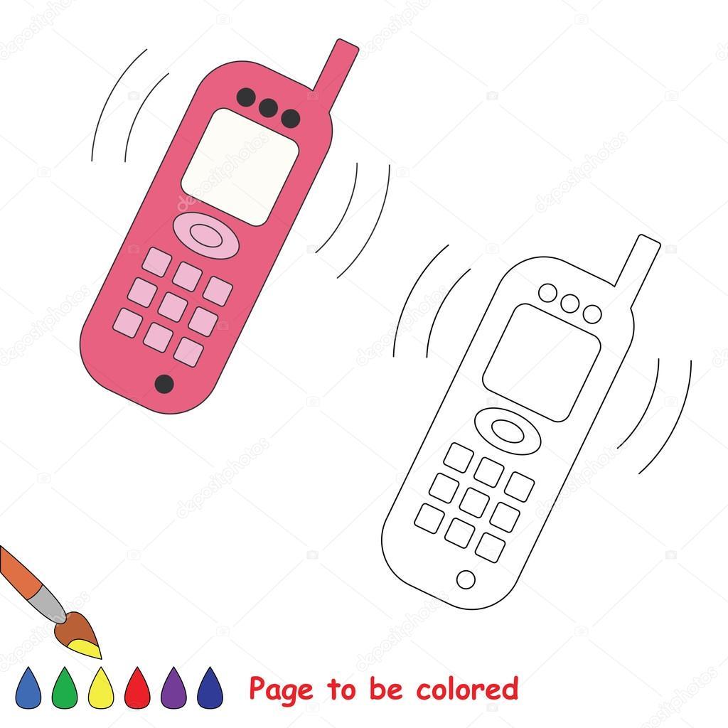 Fumetto Del Telefono Da Colorare Vettoriali Stock