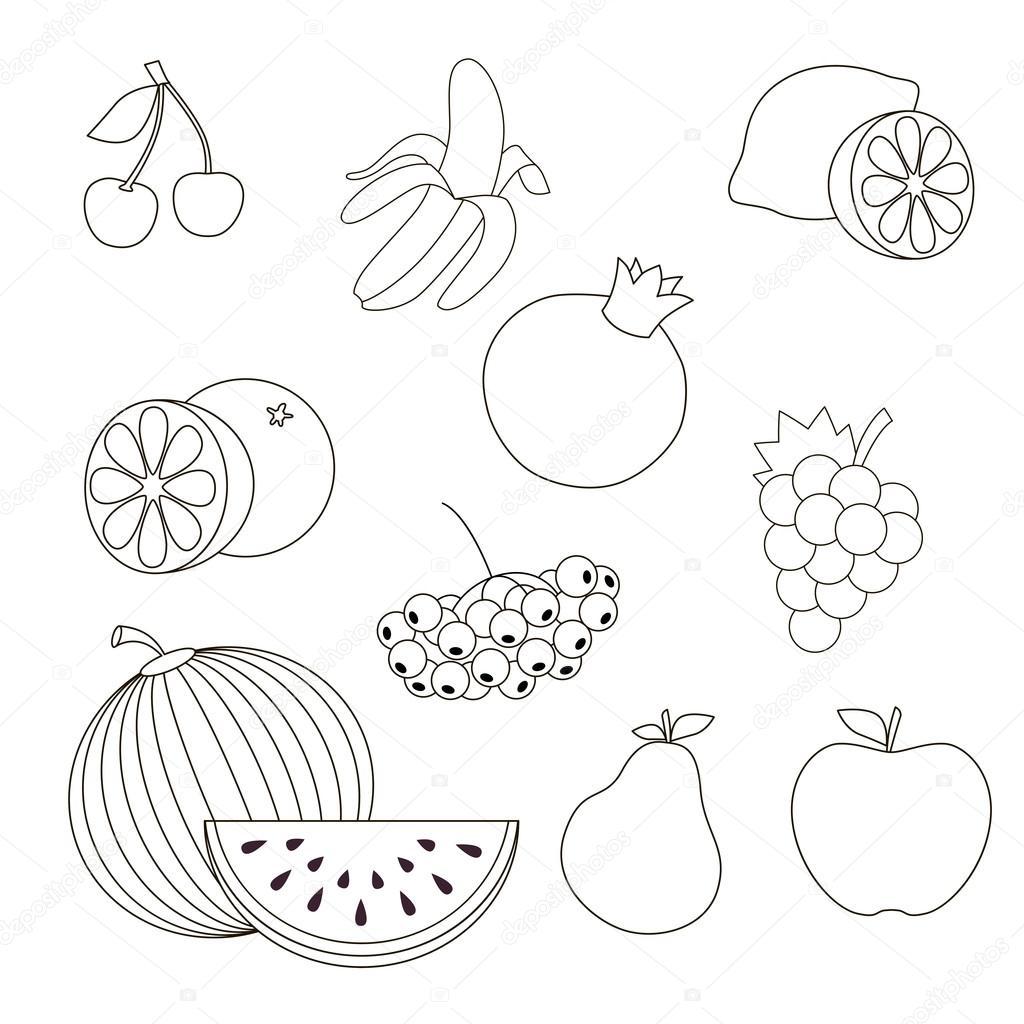 Frutas para colorear — Vector de stock © Anna_Mikhailova #91142264