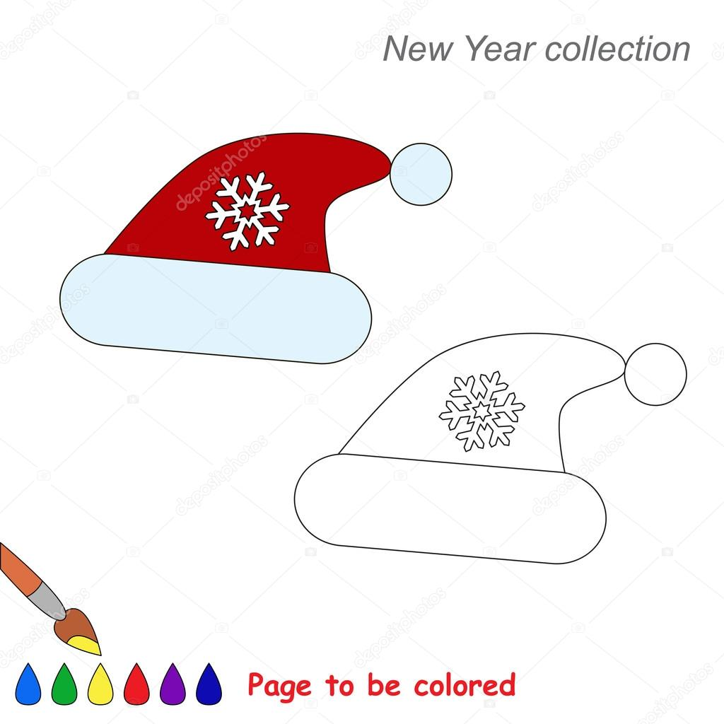 Bonnet De Noël En Dessin Vectoriel à Colorier Image