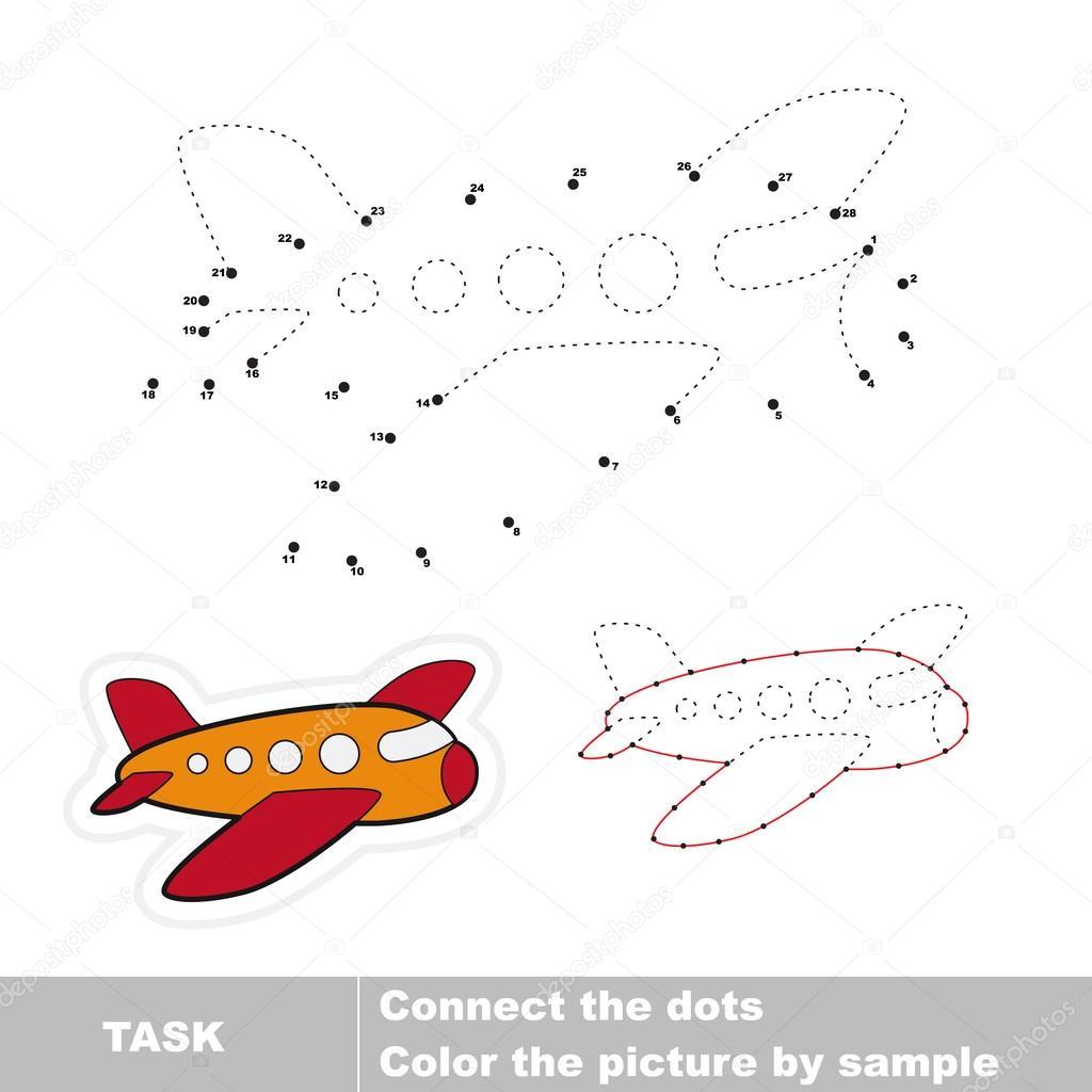 Flugzeug verfolgt werden sollen. Vektor-Zahlenspiel — Stockvektor ...