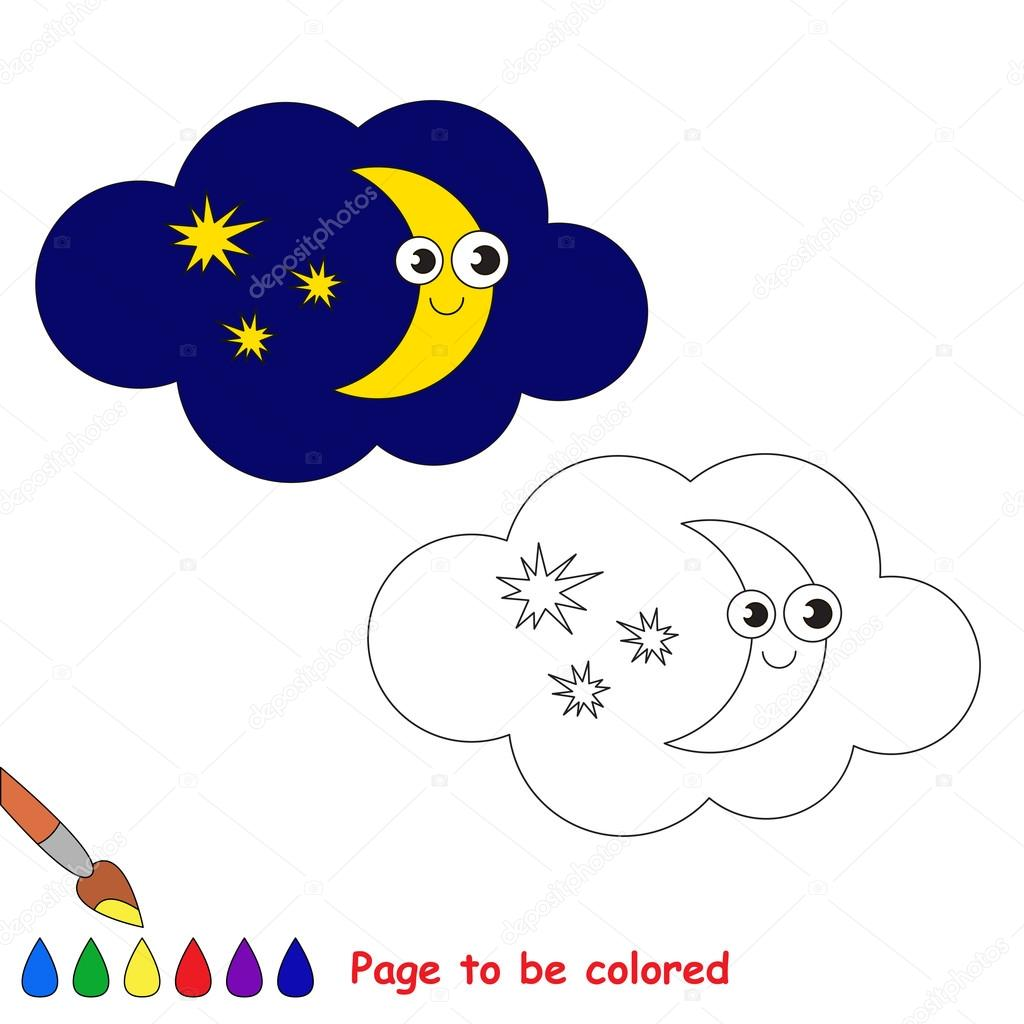 Luna en dibujos animados de vector para colorear — Vector de stock ...