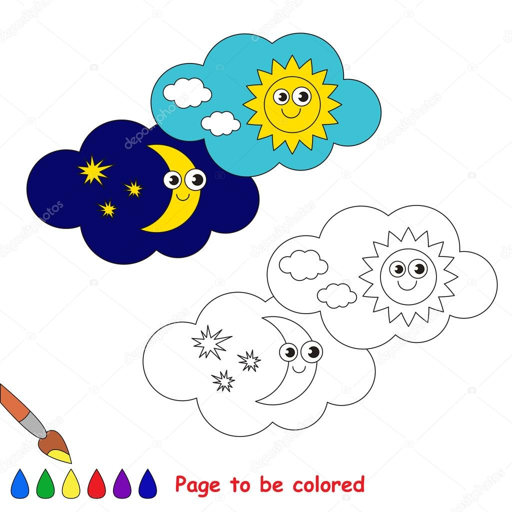 Day And Night In Vector Cartoon To Be Colored Archivo