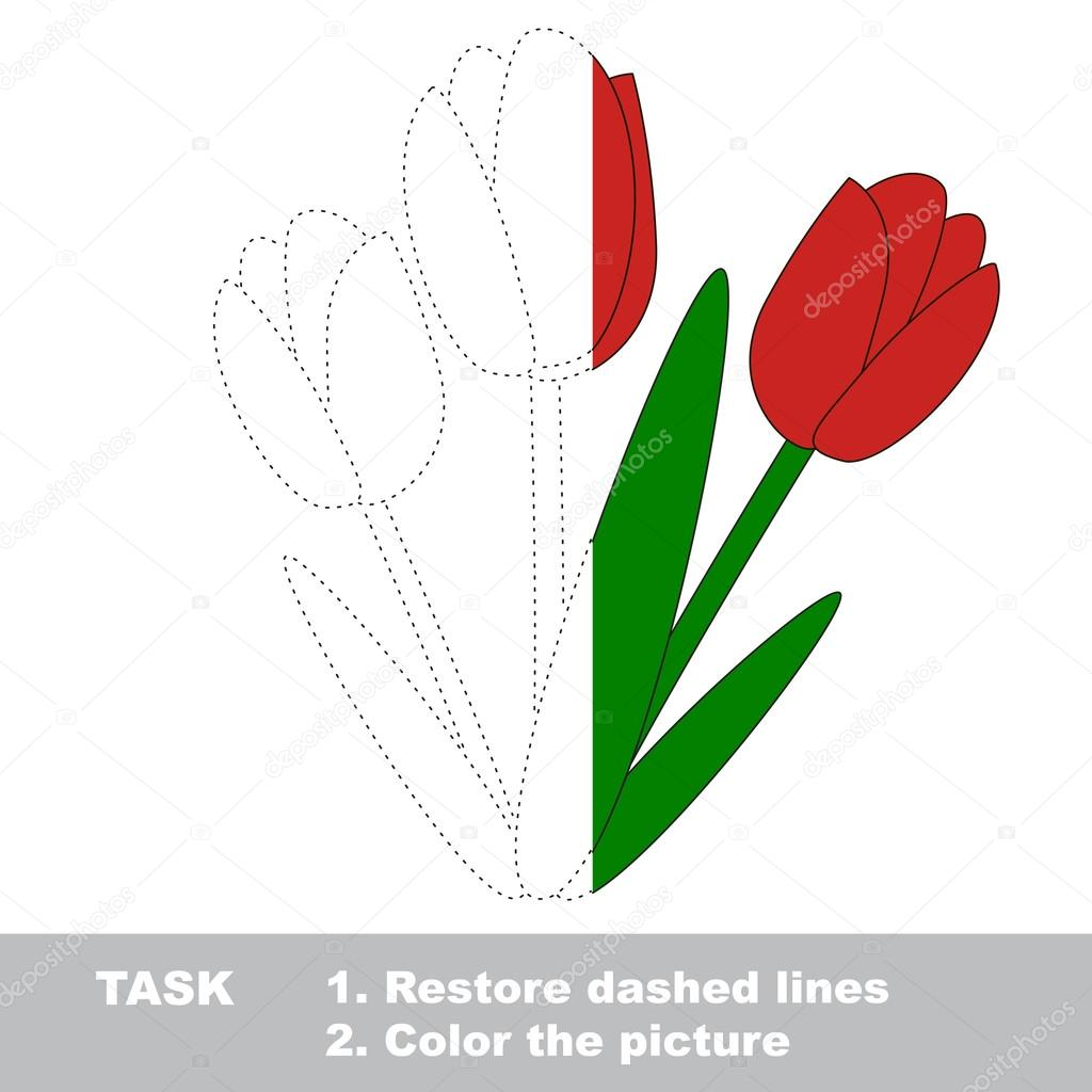 Tulips to be colored. Vector trace game. — Stock Vector ...