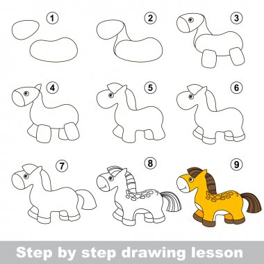 Step by step drawing tutorial. Vector kid game. How to draw a Horse clip art vector