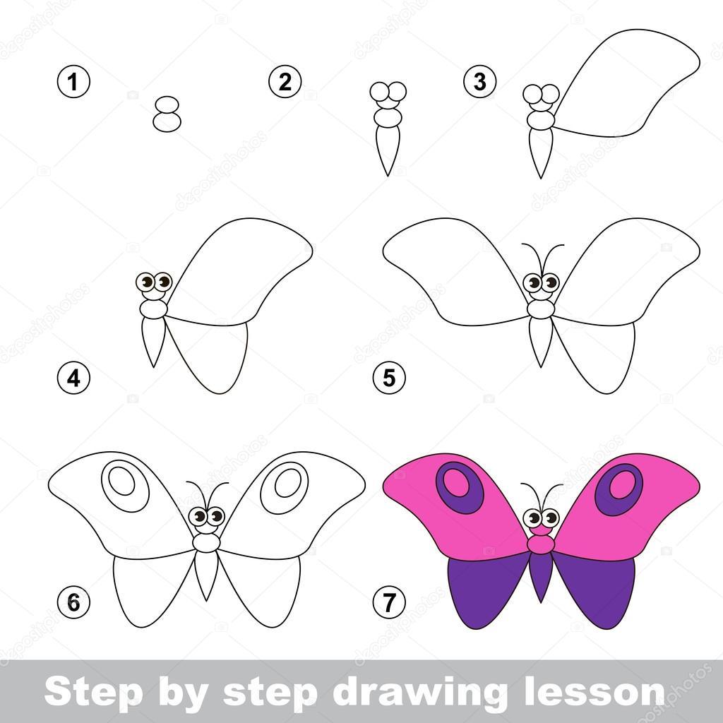 Voorkeur Tekening tutorial. Hoe teken je een vlinder — Stockvector @QU03