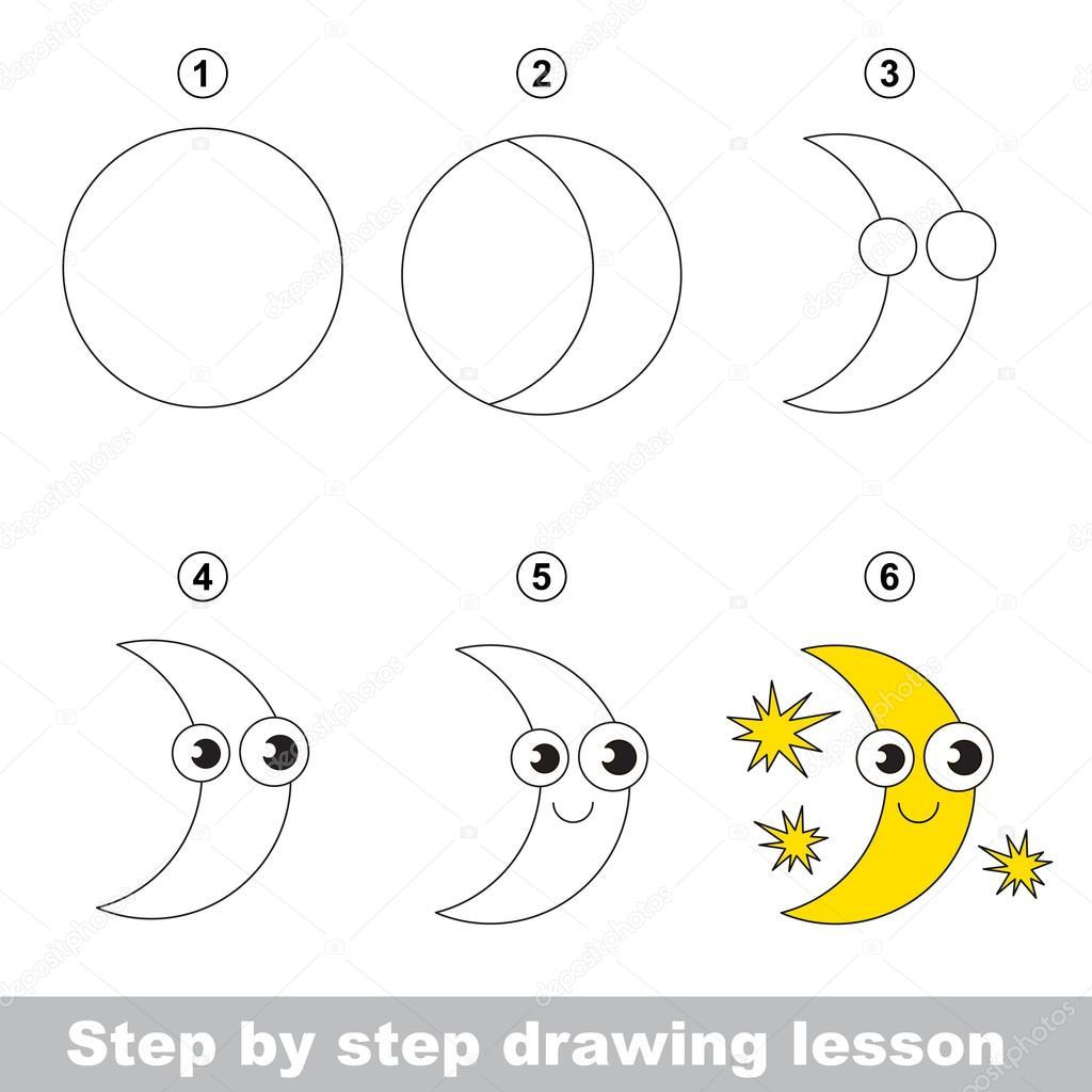 Tekening tutorial hoe teken je een maan stockvector for How to make doodle art