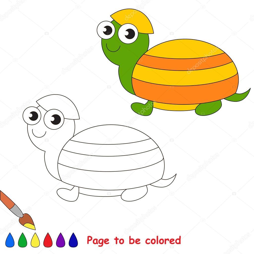 Tortuga de dibujos animados de vector para colorear — Archivo ...