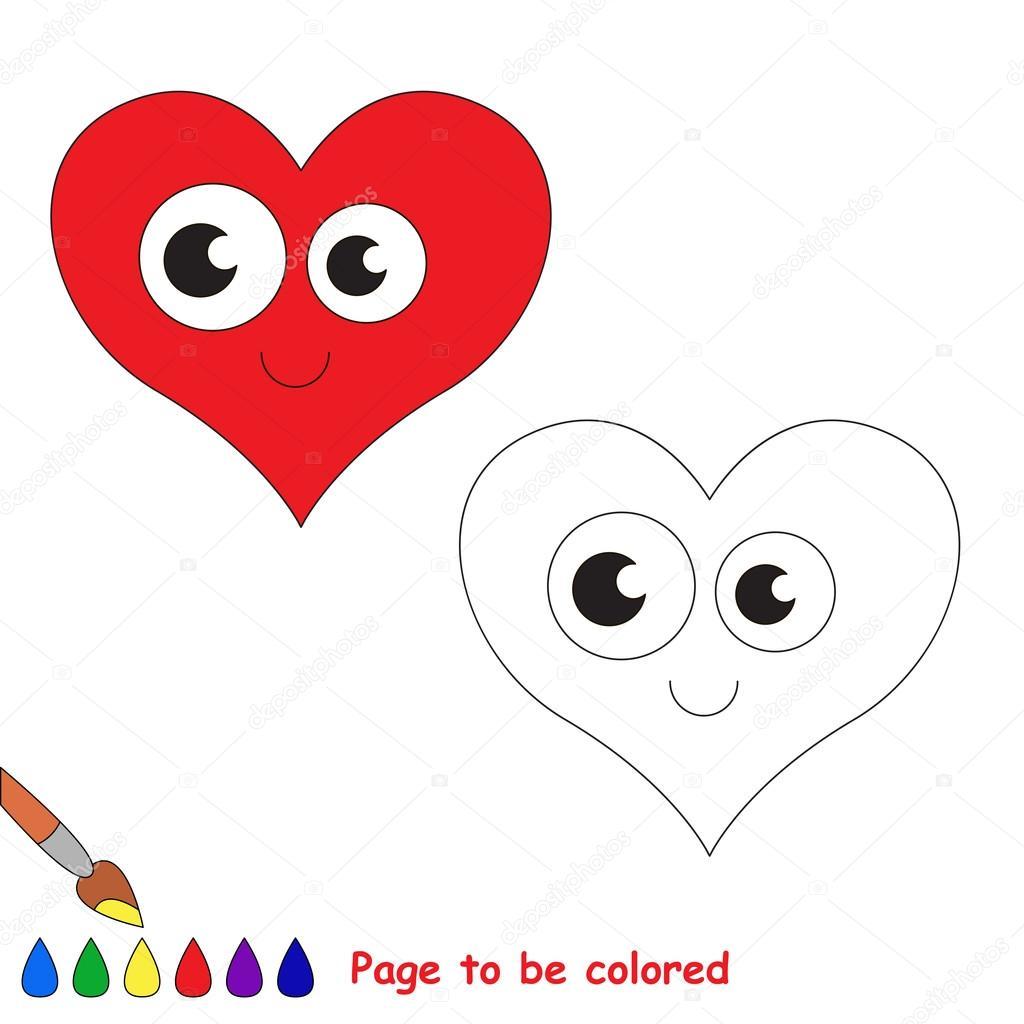 Corazón en dibujos animados de vector para colorear — Archivo ...
