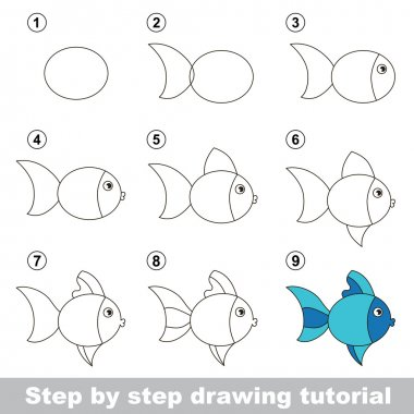 Step by step drawing tutorial. Visual game for kids. How to draw a Cute Fish clip art vector