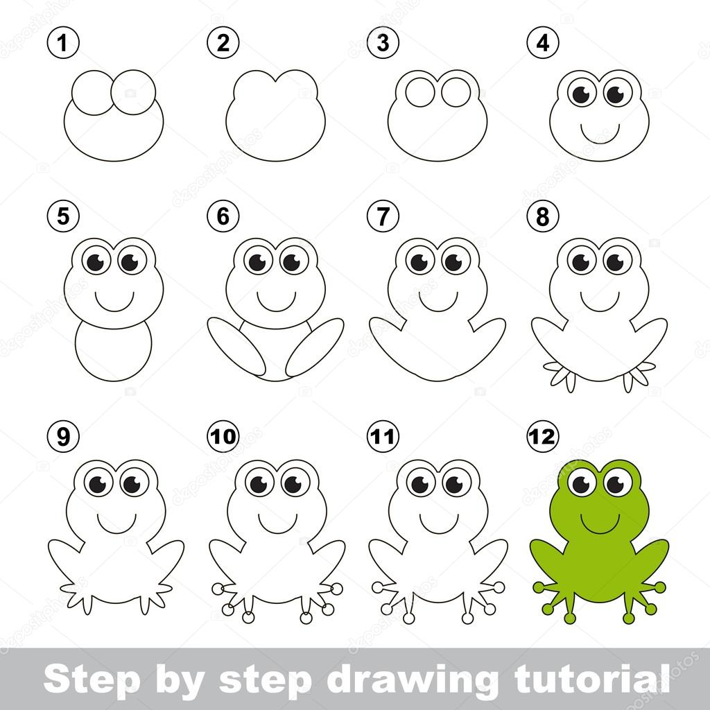 Zielona żaba. Rysunek tutorial. — Wektor stockowy