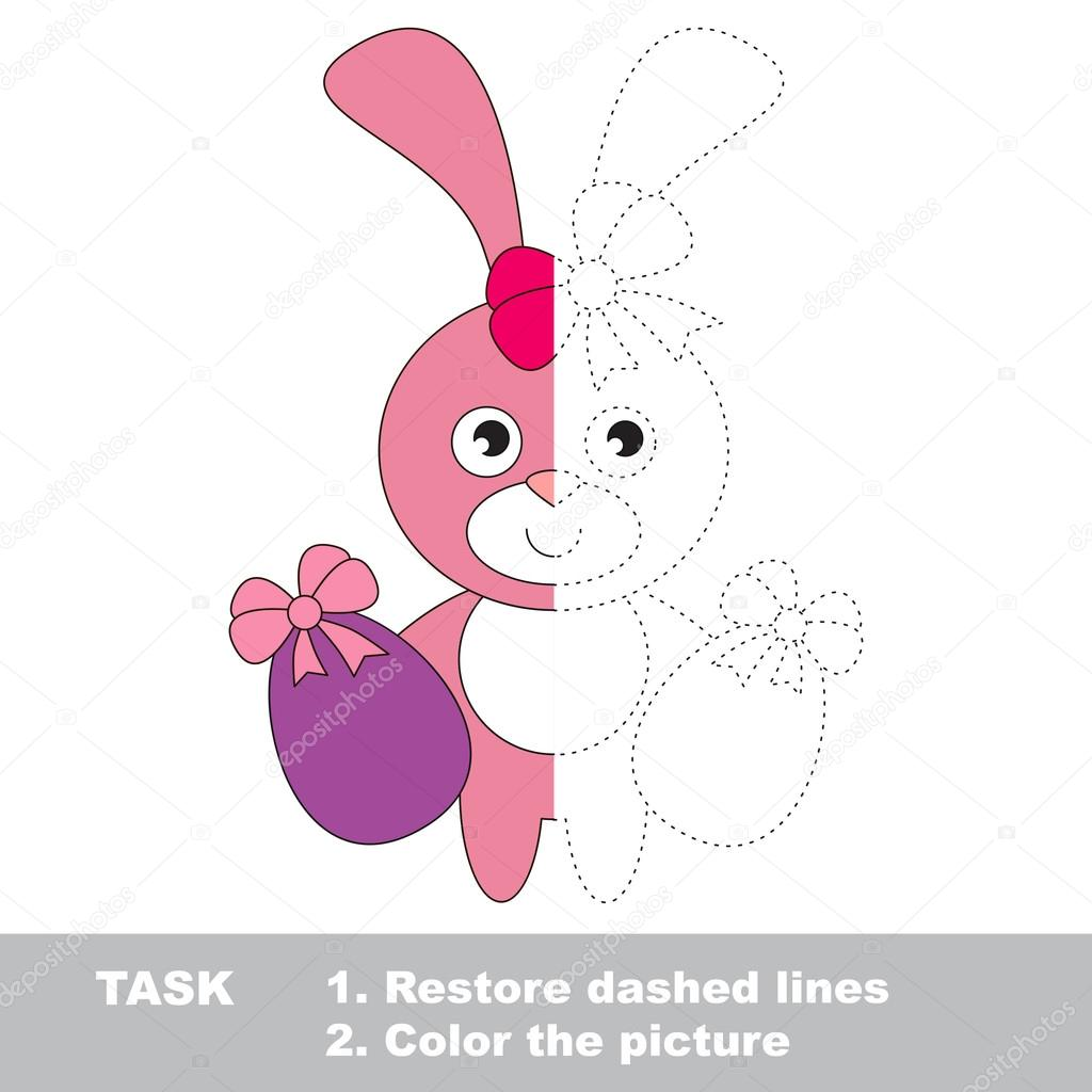 Conejito rosa para colorear. Juego de rastreo Vector — Vector de ...
