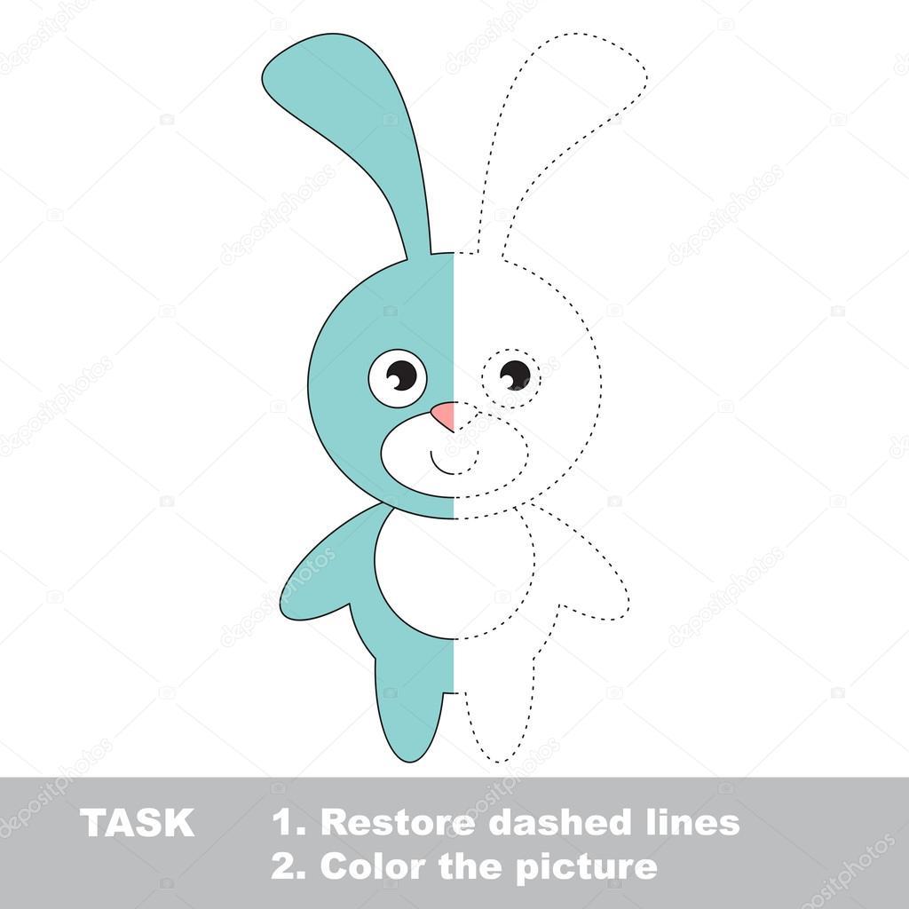 Azul conejo para colorear. Juego de rastreo Vector — Archivo ...