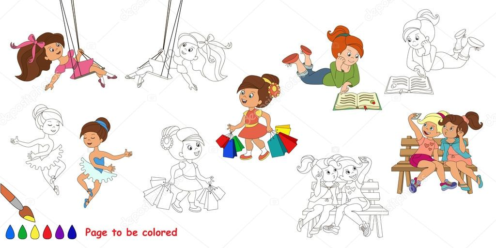 Happy Girls Big Coloring Book Stock Vector C Anna Mikhailova