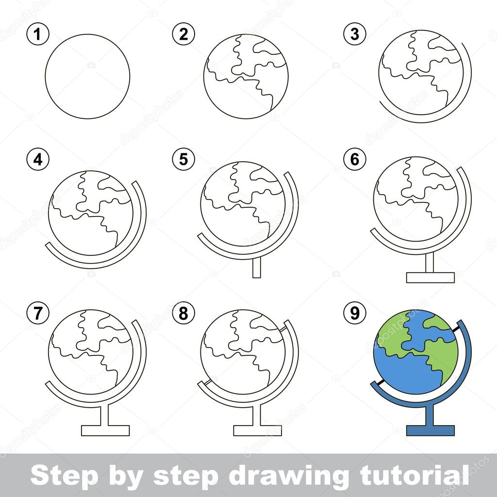 How To Draw The Globe How To Draw A Globe Stock Vector