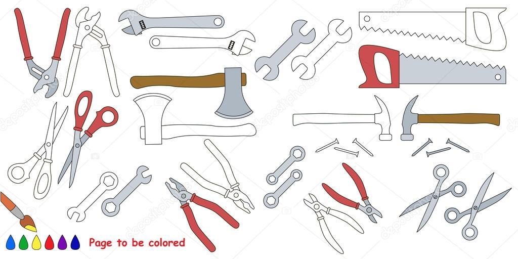Libro de colorear grandes de herramientas — Archivo Imágenes ...