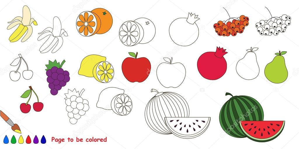 Meyve Ayarlayın Büyük Boyama Kitabı Stok Vektör Annamikhailova
