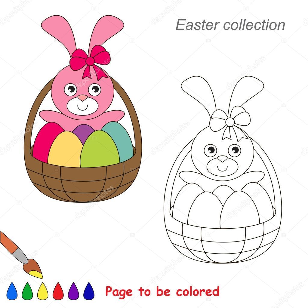 Dibujos animados lindo conejito de Pascua. Página para colorear ...