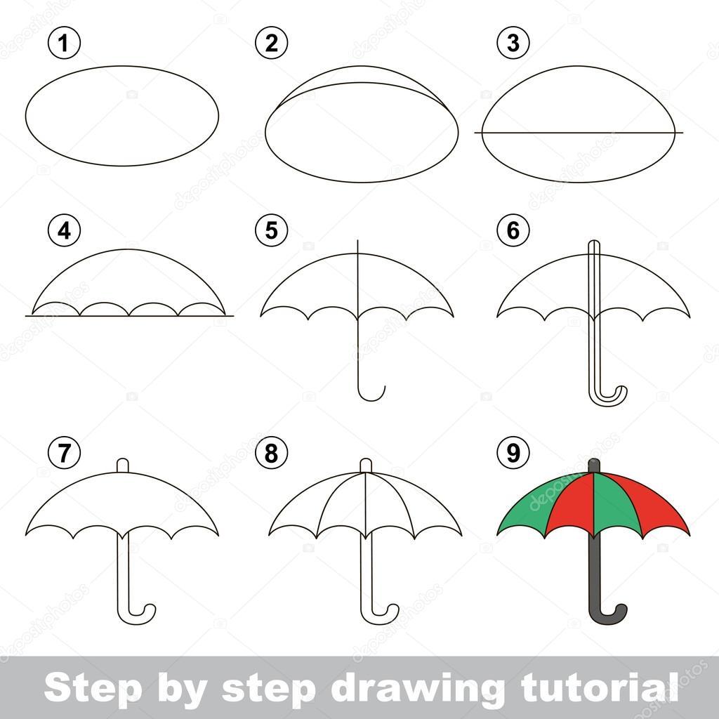 Comment dessiner un parapluie illustration de stock