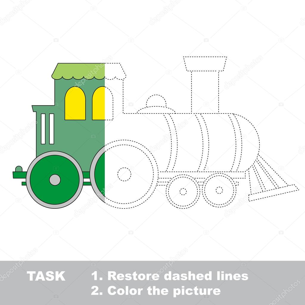 Locomotora para ser coloreado. Juego de rastreo Vector — Archivo ...