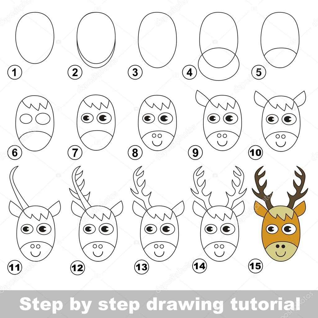 Tutoriel de dessin comment dessiner une t te de cerf image vectorielle anna mikhailova - Dessin tete de cerf ...