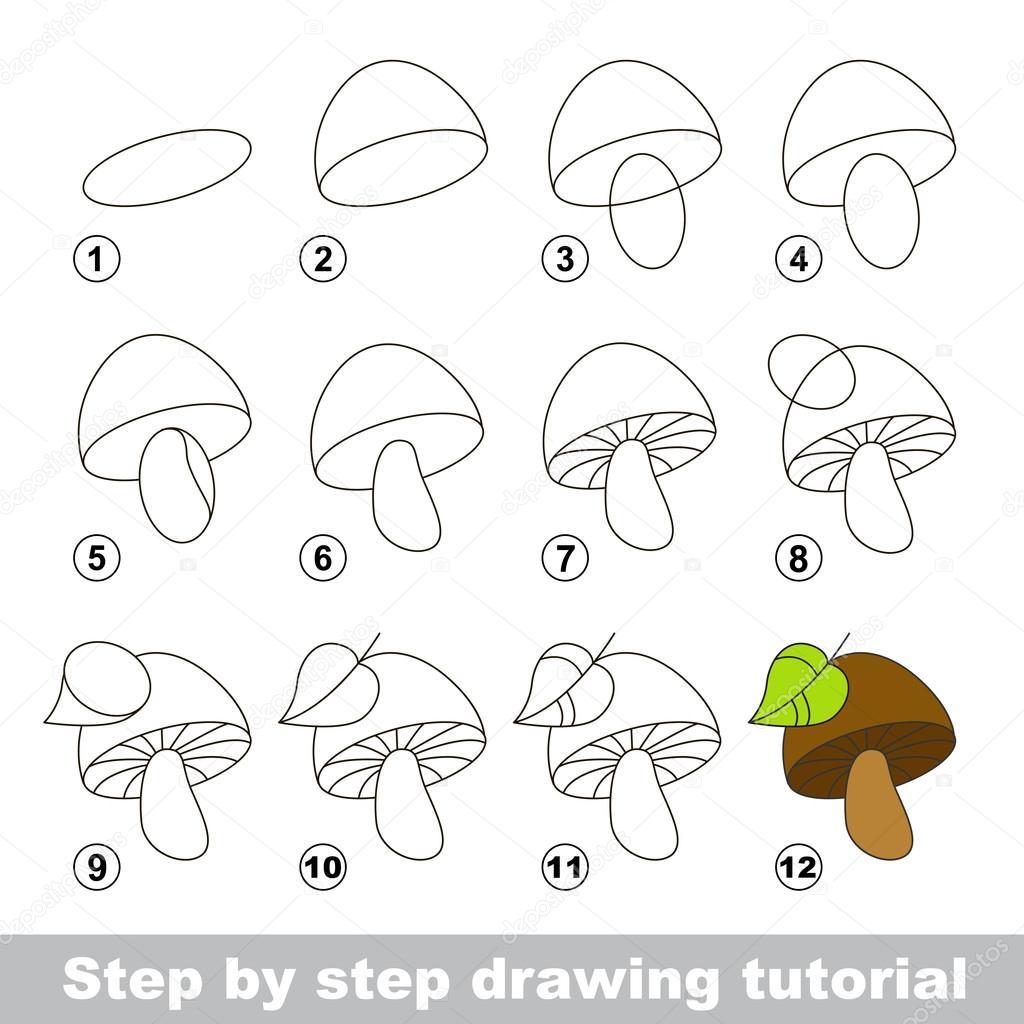 Tekening tutorial hoe teken je een paddestoel - Dessiner un champignon ...