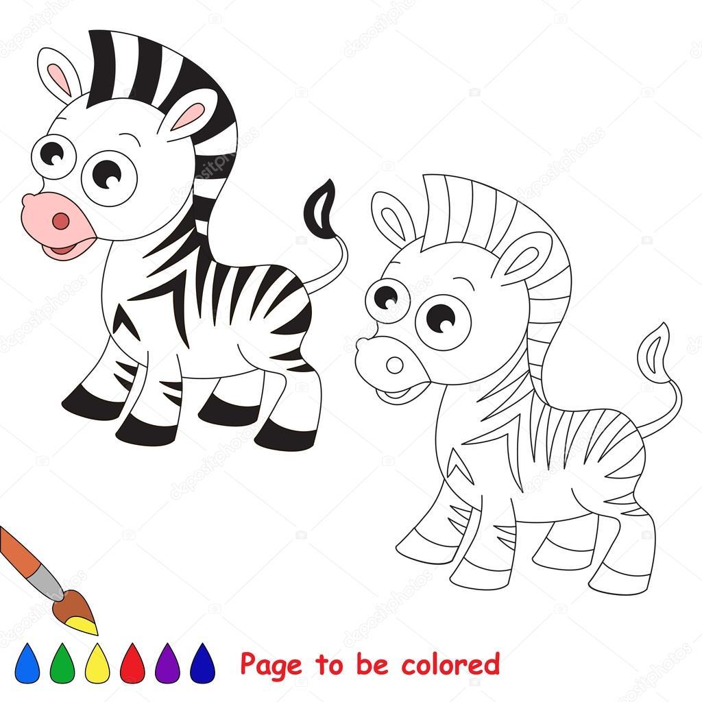 Cebra De La Historieta Página Para Colorear Archivo Imágenes