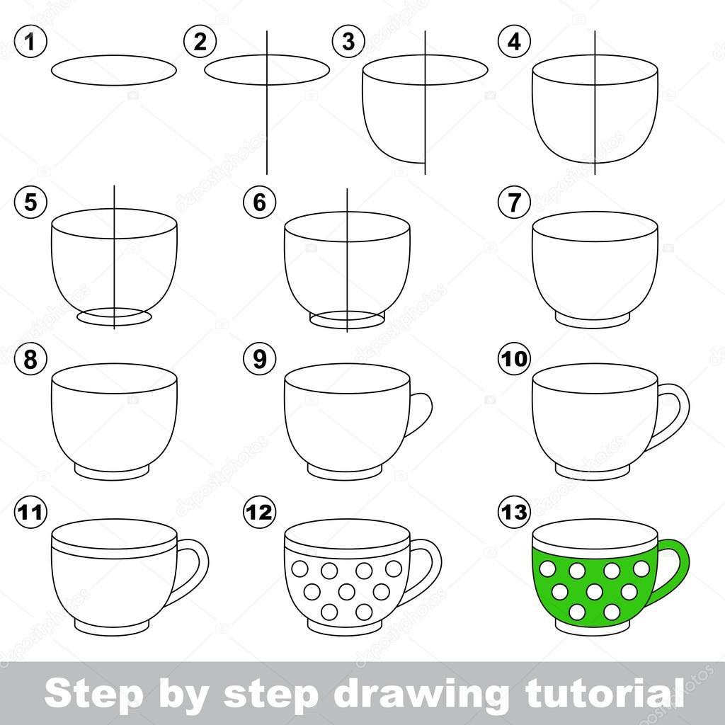 Tea Cup Drawing Easy Big Tea Cup Drawing Tutorial Stock Vector C Anna Mikhailova 99102922