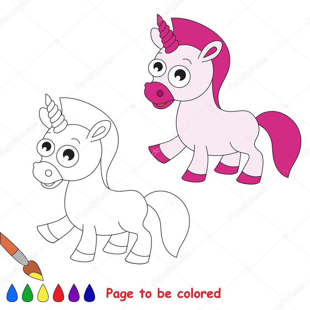 Dibujos animados de unicornio. Página para colorear — Vector de ...