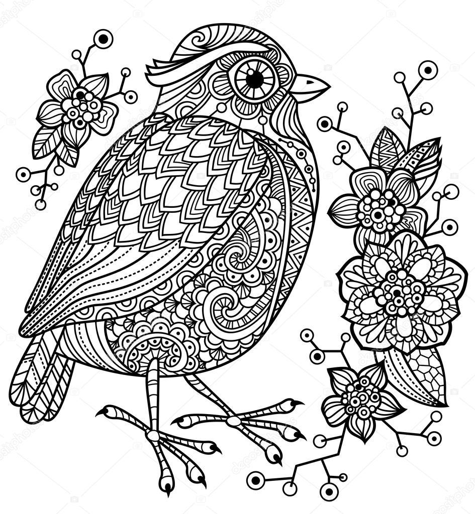 kleurplaat met een vogel en bloemen stockvector