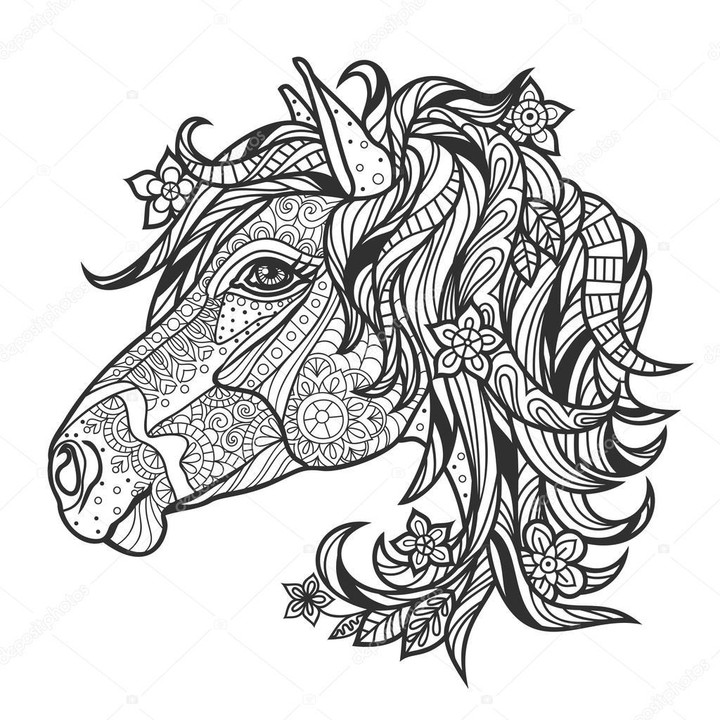 kleurplaat antistress met een portret een paard