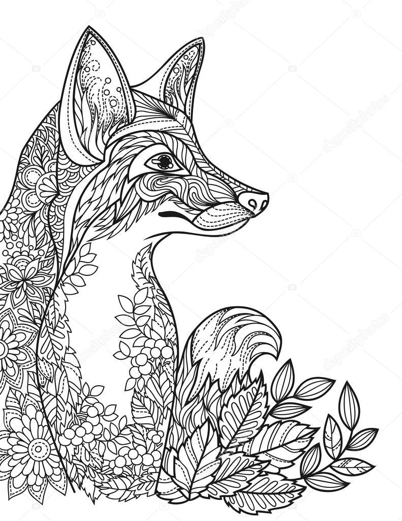 Imagen para colorear el libro con un zorro — Vector de stock ...