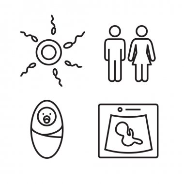 Medicine and pregnancy vector line icons set. Baby and weighing, scales and uzi