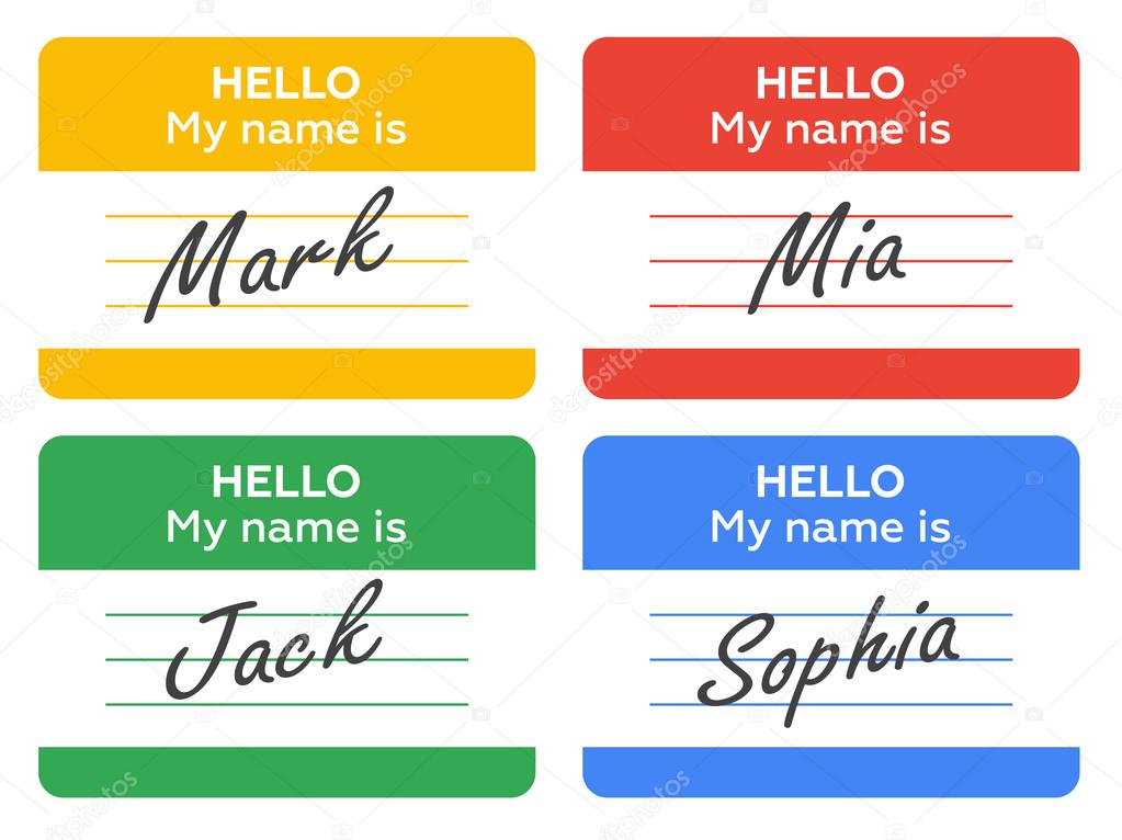 Name Tag Set Hello My Name Is Card Label Sticker