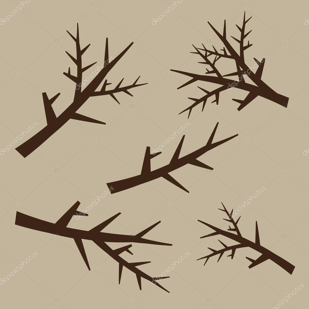 Ramas De Los Arboles Para Definir Estilo Dibujado A Mano Planta De - Ramas-de-arboles-para-decoracion