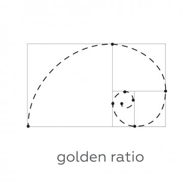 Symbol of the golden ratio tattoo black lines