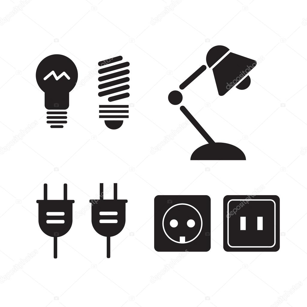 Lamp and bulbs black vector icons set. Electrical symbols. Bulb ...