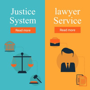 Legal services, law and order, justice vector flat concept set. Honest judge, justice system, crime investigation, lawyer service