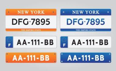 License car number plates set vector illustration