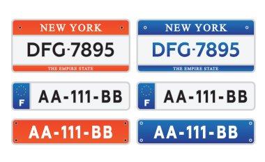 Car number plates license set vector illustration eps10